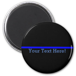 Blue Line fino simbólico personaliza esto Imán Redondo 5 Cm