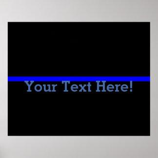 Blue Line fino simbólico personaliza esto Póster