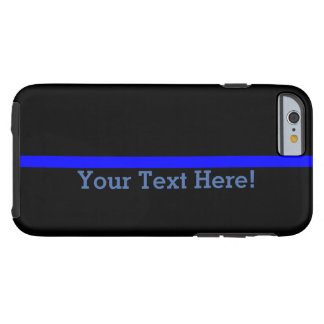 Blue Line fino simbólico su texto en negro Funda Resistente iPhone 6