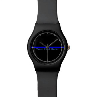 Blue Line fino simbólico su texto en negro Relojes De Mano