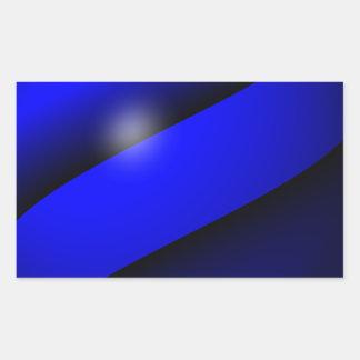 Blue Line fino único Pegatina Rectangular