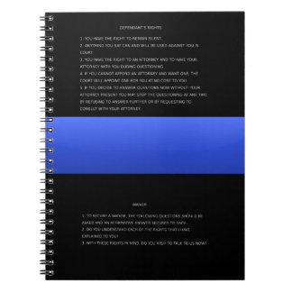 Blue Line fino y cuidado y renuncia de las derecha Spiral Notebook