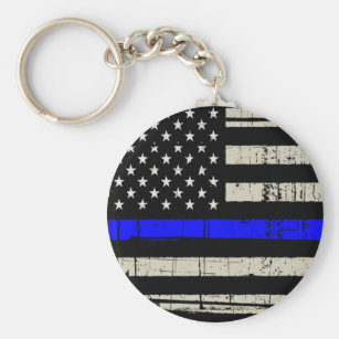 Blue Line Flag Poilice Support American USA Keychain