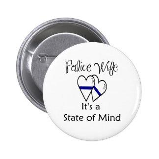 blue line hearts 2 inch round button
