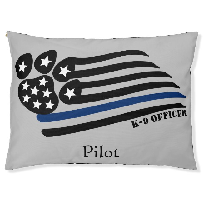 Blue Line K-9 Officer Personalized Pet Bed