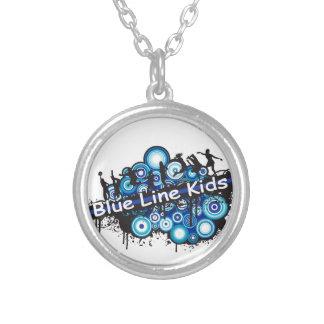 Blue Line Kids Round Pendant Necklace