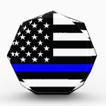"""Blue Line US Flag Acrylic Award<br><div class=""""desc"""">A Thin Blue Line symbolic US flag design graphic. A gift idea for gatherings, memorial celebrations and remembrance occasions. Here&#39;s a fine line up of custom blue line design style available as an embroidery on embroidered casual baseball caps for everyone. Use the &quot;Ask this Designer&quot; link to contact us with...</div>"""