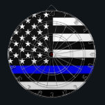 "Blue Line US Flag Dartboard<br><div class=""desc"">A Thin Blue Line symbolic US flag design graphic. A gift idea for gatherings, memorial celebrations and remembrance occasions. Here&#39;s a fine line up of custom blue line design style available as an embroidery on embroidered casual baseball caps for everyone. Use the &quot;Ask this Designer&quot; link to contact us with...</div>"