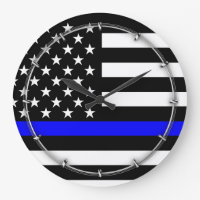 Blue Line US Flag Large Clock
