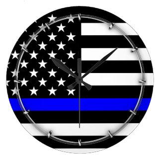 Blue Line US Flag Large Clock
