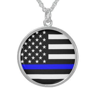 Blue Line US Flag Round Pendant Necklace