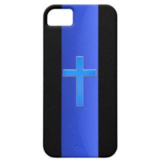 Blue Line y cruz finos iPhone 5 Funda