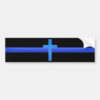 Blue Line y cruz finos Pegatina Para Auto