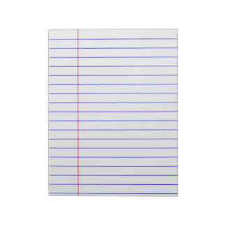 blue lined notepad with margin