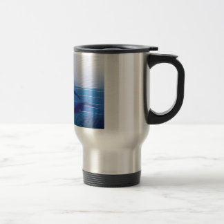 Blue Lined Swimmer Silhouettes Travel Mug