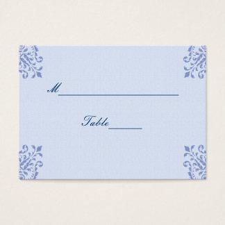 Blue Linen Floral Corners Wedding Business Card