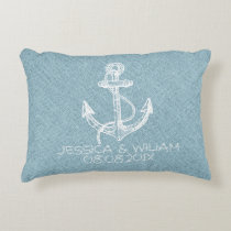 Blue Linen Print & White Boat Anchor Decorative Pillow