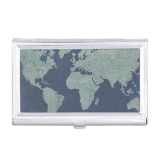 Blue Linen World Map Business Card Holder