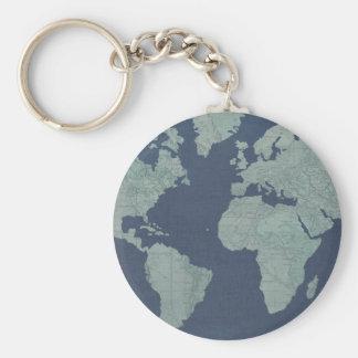 Blue Linen World Map Keychain