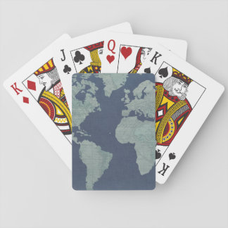 Blue Linen World Map Playing Cards