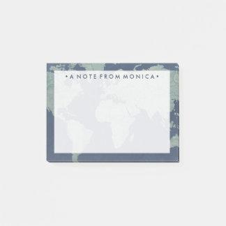 Blue Linen World Map Post-it Notes