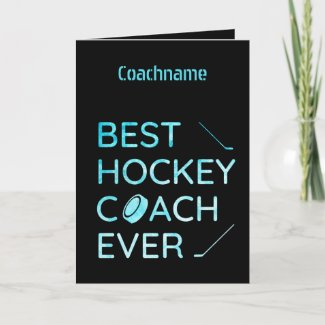 Blue lines - Best hockey coach ever thank you card