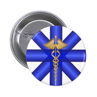 Blue Lines / Gold Caduceus EMT Symbol Button