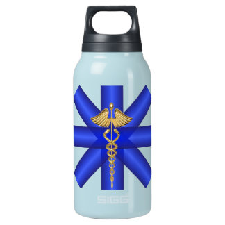 Blue Lines / Gold Caduceus EMT Symbol Insulated Water Bottle
