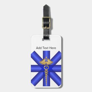 Blue Lines / Gold Caduceus EMT Symbol Bag Tag