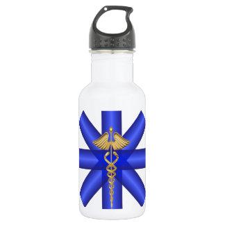Blue Lines / Gold Caduceus EMT Symbol 18oz Water Bottle