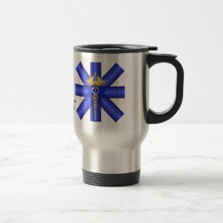 Blue Lines / Gold Caduceus EMT Symbol Travel Mug