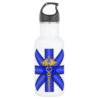 Blue Lines / Gold Caduceus EMT Symbol Water Bottle