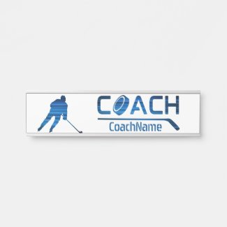 Blue lines - Ice hockey coach Door Sign