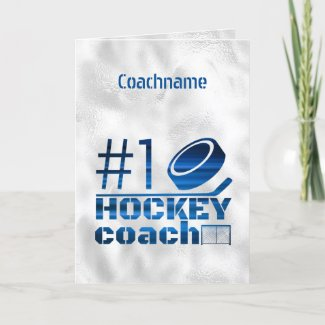 Blue lines - Number 1 hockey coach thank you card