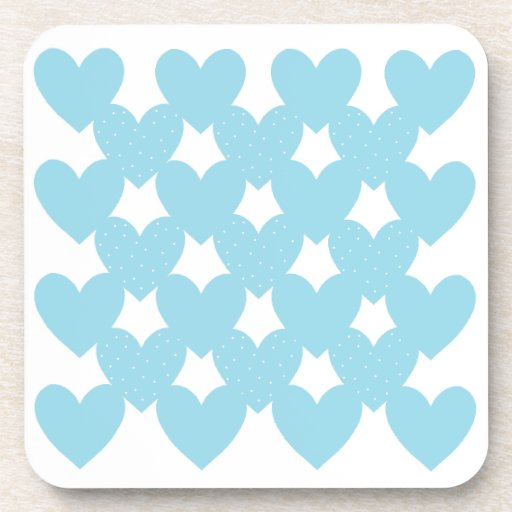 Blue Linked Hearts Drink Coaster
