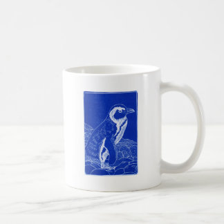 Blue Linocut Penguin Coffee Mug