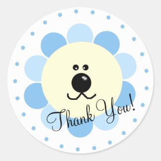 Blue Lion-Baby Shower Favor Round Stickers