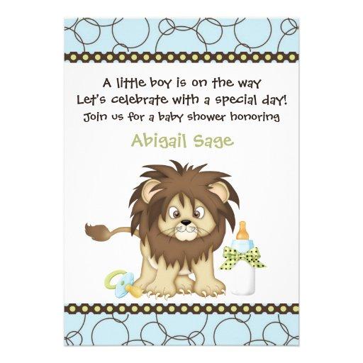Blue Lion Baby Shower Invitation for Boys