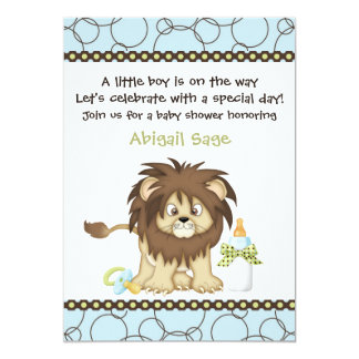 "Blue Lion Baby Shower Invitation for Boys 5"" X 7"" Invitation Card"