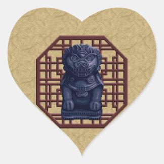 Blue Lion Dog Pixel Art Heart Sticker
