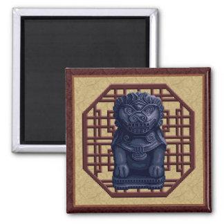 Blue Lion Dog Pixel Art Refrigerator Magnets