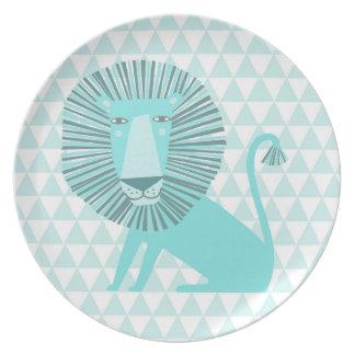 Blue lion melamine plate