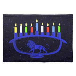 Blue Lion Menorah Cloth Placemat