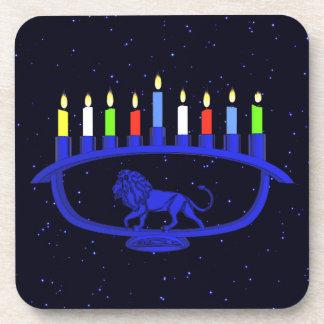 Blue Lion Menorah Coaster