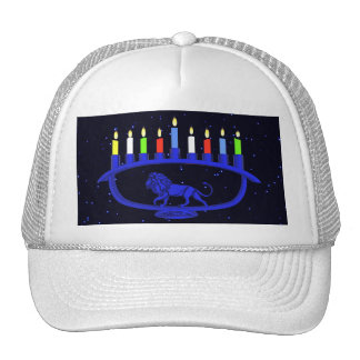 Blue Lion Menorah Trucker Hat