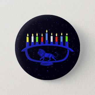 Blue Lion Menorah Pinback Button