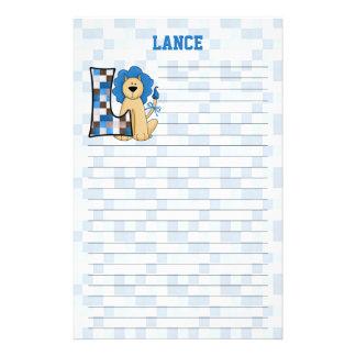 "Blue Lion Mongram ""L"" Lined Stationery"