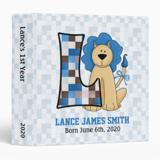 "Blue Lion Monogram ""L"" Baby Scrapbook Binder"