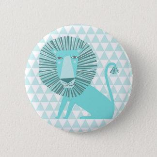 Blue lion pinback button