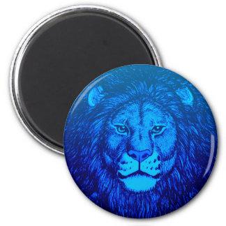 Blue Lion Portrait Magnet